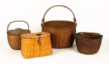 Group of Early Splint Baskets & Fishing Creel