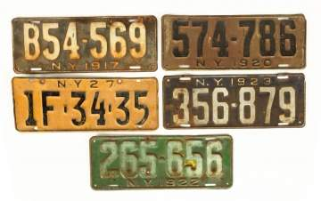 Group of Vintage New York State License Plates