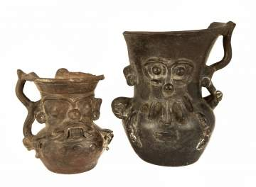 Pre-Colombian Style Ceramic Rain God Vessels