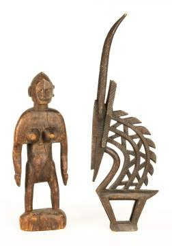 African Chi Wara Headdress & Standing Female  Effigy