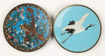 Two Asian Cloisonné Chargers