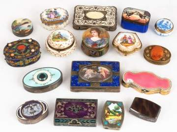 Various Enameled and Porcelain Boxes