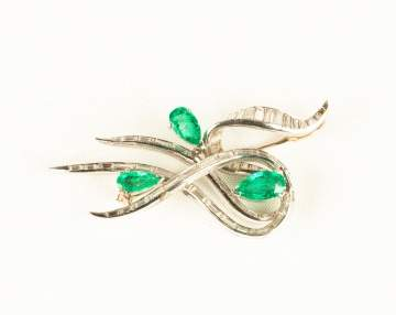 Emerald and Diamond Platinum Brooch