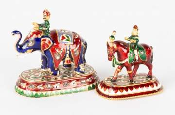 Gold and Enameled Middle Eastern Figures on Elephants