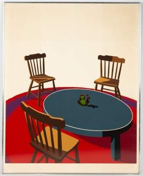 "Ken Price (American, 1935-2012) Chairs, Table,  Rug, Cup from ""Interior Series"""