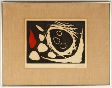 "Alexander Calder (American, 1898–1976) ""Black Ground with Red and White Shapes"""