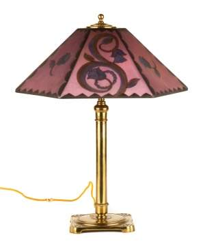 Pairpoint Art Deco Reverse Painted Table Lamp