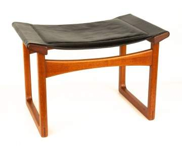 Attributed to Hans Wegner Teak and Leather Stool