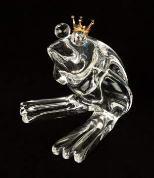 Steuben Frog Prince with 18K Gold Crown
