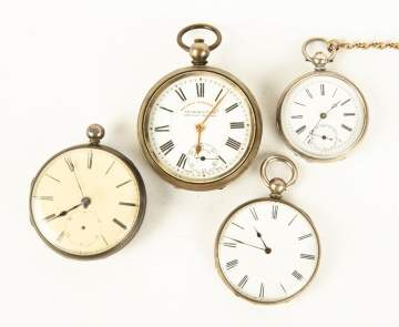 Four Coin Silver 19th Century Pocket Watches
