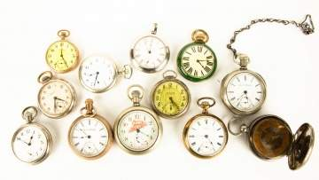 Group of Various Pocket Watches and Sun Dial