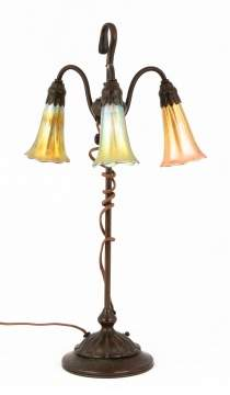 Tiffany Studios, NY 3-Light Lily Lamp