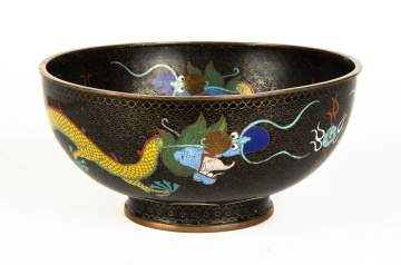 Chinese Cloisonne 5-Claw Dragon Bowl