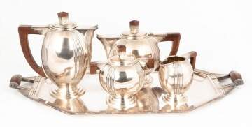French Art Deco 5 Piece Silver Plate Tea Set