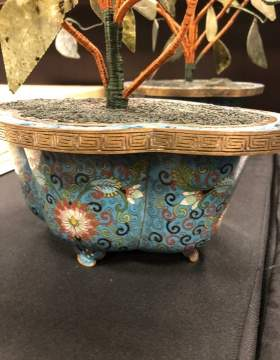 Chinese Cloisonné Pots with Hardstone Flowers