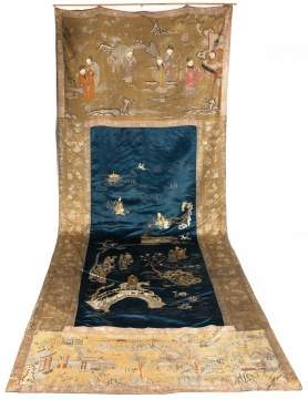 Chinese Kesi Silk Embroidered Hanging Tapestry