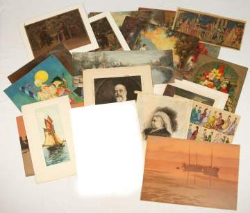 Group of Various 19th Century Prints, Lithographs,  Paintings on Linen