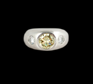 Men's Platinum 2.75 Ct Fancy Yellow Diamond Ring