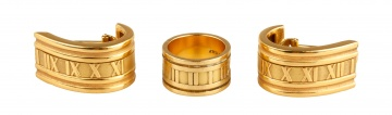 18K Gold Tiffany & Co. Numeric Ring and Earrings from the Atlas Collection