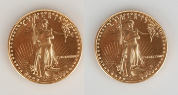 (2) US Liberty MCMLXXXVII One Ounce Gold Coins