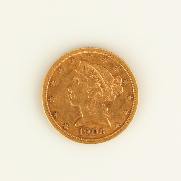 US 1906 $5 Gold Coin