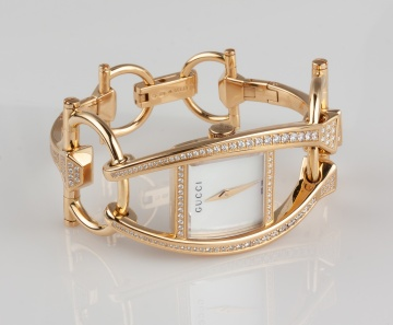 Ladies Gucci Chiodo 18K Gold & Diamond Watch