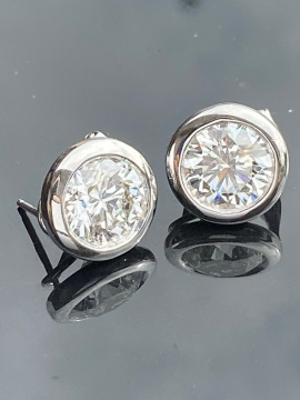 Pair of 14K White Gold Round Cut Diamond Earrings