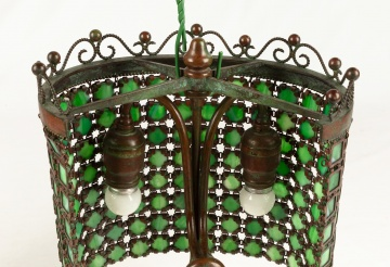 Attributed to Tiffany Studios, New York, Chain Mail Sconces