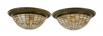 Pair of Leaded Glass Domes