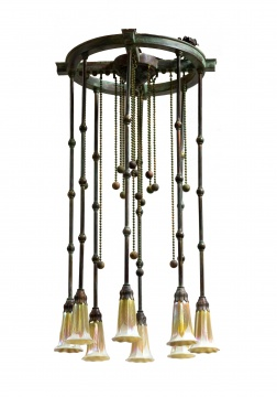 Bronze Moorish Hanging Fixture with Eight  Pulled Feather Shade Quezal Shades