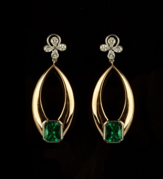 Pair of 18K Gold, Diamond and Green Cut Emerald Earrings