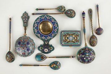 Vintage Russian Enameled Sterling Silver Spoons,  etc.