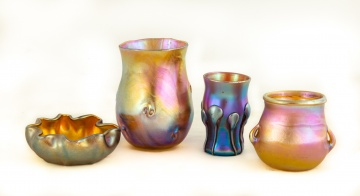 Four Tiffany Studios, New York Favrile Glass  Cabinet Pieces