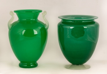 Two Steuben Green Jade and Alabaster Vases