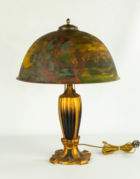 Reverse and Obverse Painted Table Lamp