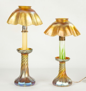 Two Tiffany Studios, New York Favrile Candle Lamps
