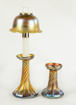 Tiffany Studios, New York Favrile Candle Lamp &  Base
