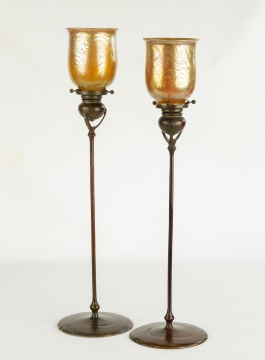 Two Tiffany Studios, New York Candlesticks