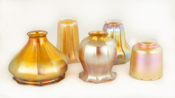 Five Art Glass Shades