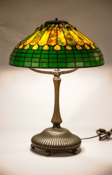 Tiffany Studios, New York, Jeweled Feather Table  Lamp