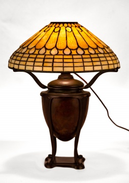 Tiffany Studios, New York Jeweled Feather Table  Lamp