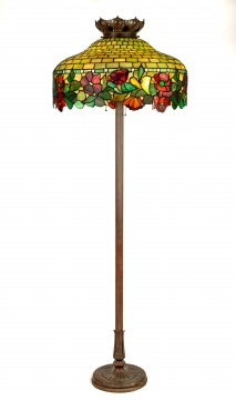 Leaded Glass Floor Lamp with Poppy Border
