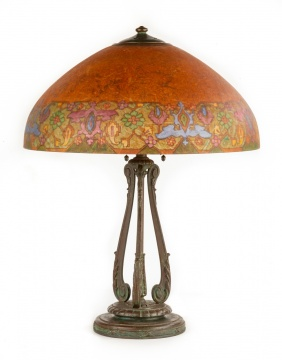 Handel Lamp with Reverse Painted Persian Design