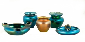Five Steuben Gold and Blue Aurene Cabinet Vases