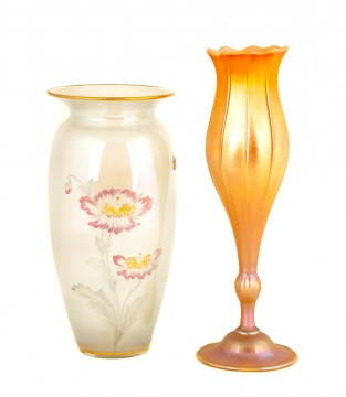 Sinclair Enameled Vase and Quezal Vase