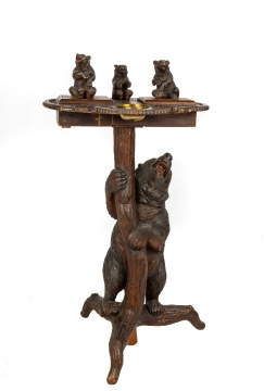 Swiss Carved Black Forest Smoking Table