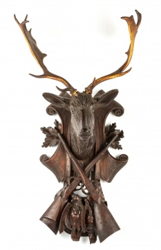 Carved Black Forest Trophy Head with Antlers