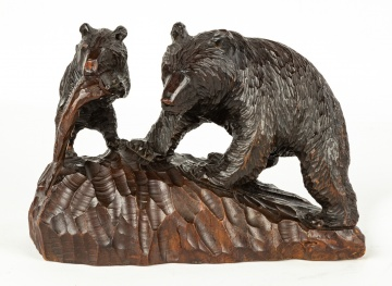 Black Forest Carving of Bear with Cub
