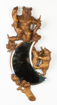 Carved Black Forest Bear Mirror