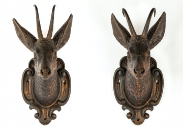 Pair of Carved Black Forest Deer Heads